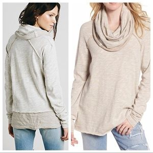 Pink Free People Beach Cocoon Cow Neck Pullover